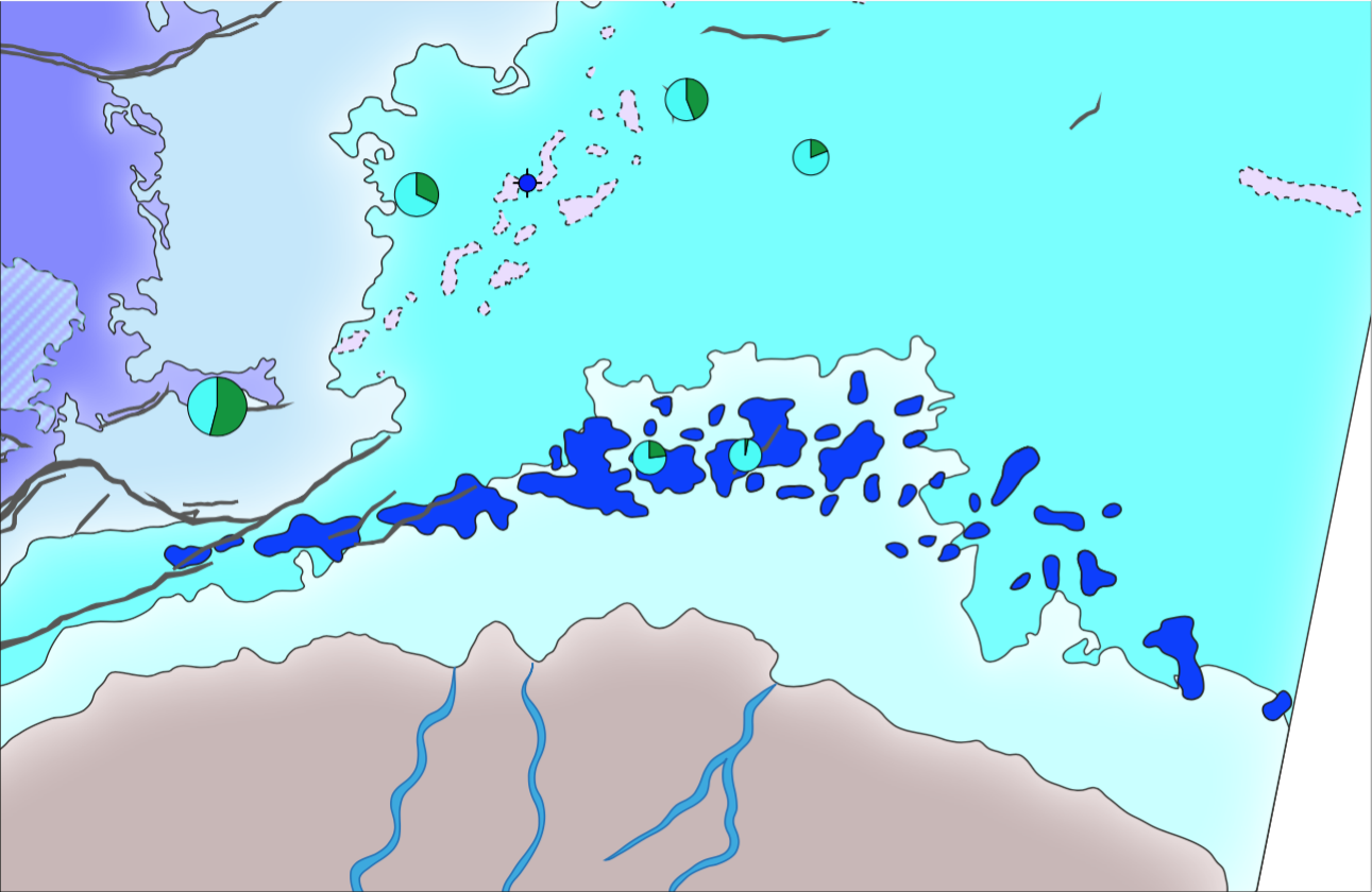 Extract of the Røye formation paleogeographic maps showing the spiculite mounds along the Finnmark Platform